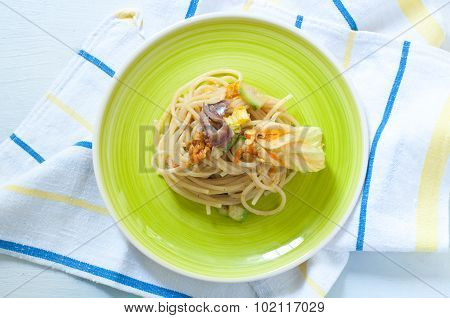 Spaghetti With Marinated Anchovy, Zucchini And Zucchini Flowers