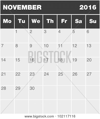 Classic Month Planning Calendar - November 2016