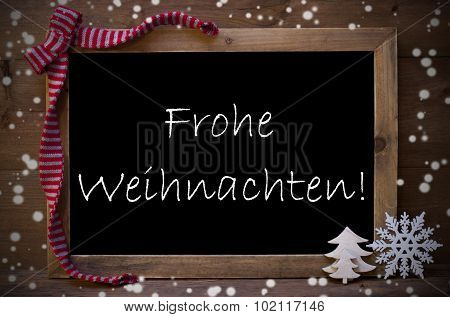 Chalkboard Frohe Weihnachten Mean Merry Christmas, Snowflakes