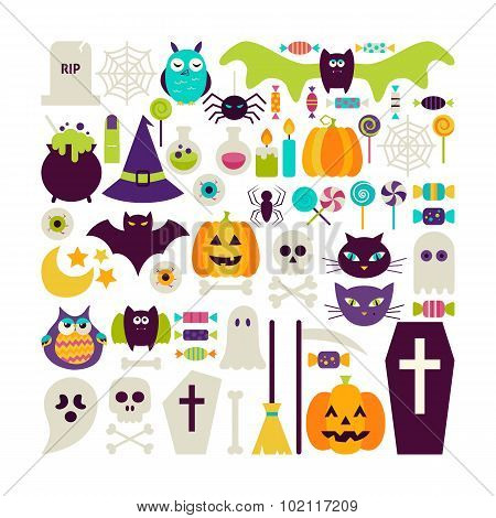 Flat Style Vector Set Of Halloween Holidays Objects Isolated Over White