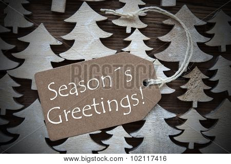 Brown Christmas Label With Seasons Greetings