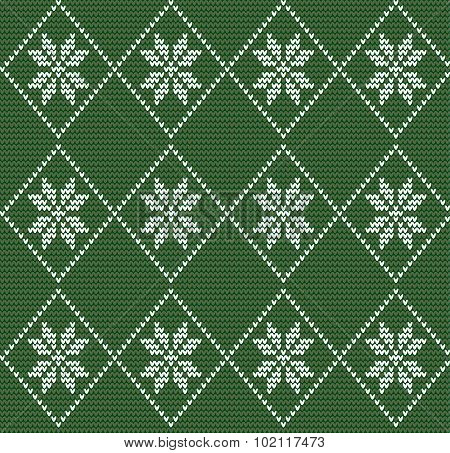 Seamless Knitted Pattern In Nordic Style With White Snowflakes On Green