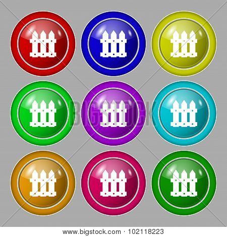 Fence Icon Sign. Symbol On Nine Round Colourful Buttons. Vector