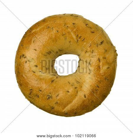 Rye Caraway Seed Bagel Against White