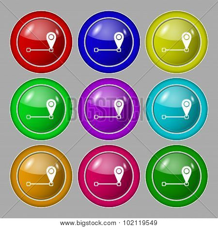 Map Pointer Icon Sign. Symbol On Nine Round Colourful Buttons. Vector