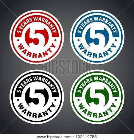 Five years warranty badge. Different colors