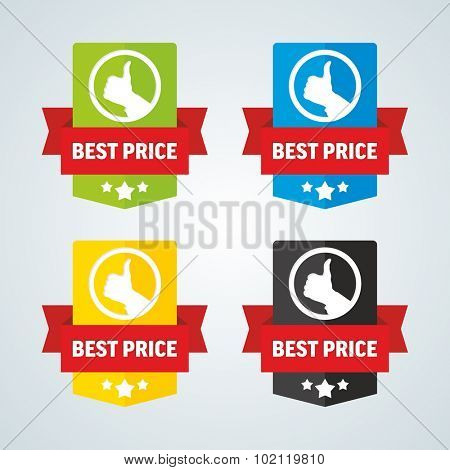 Best price badge with red ribbon. Different colors. Vector illustration.