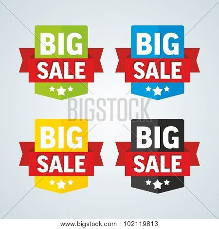 Big sale badge with red ribbon. Different colors. Vector illustration.
