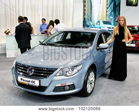 UFA, RUSSIA - JUNE 10: German motor car Volkswagen Passat CC on display at the annual Motor show