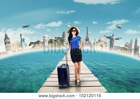 Gorgeous Traveler Carrying Luggage On The Jetty