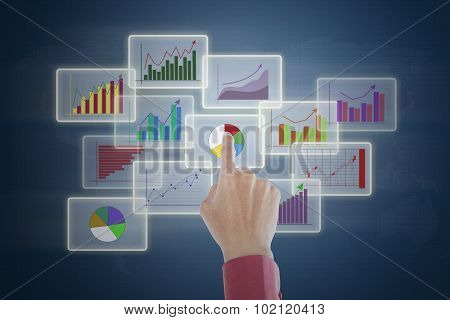 Hand Touching Business Charts