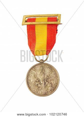 Medal of Honor showing Spanish flag and Our Lady Pilar or Pillar image isolated on a white backgroun