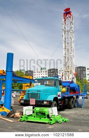 UFA, RUSSIA - MAY 25: Oilrig equipment on display at the annual Motor show