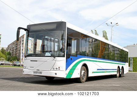 UFA, RUSSIA - MAY 25: City bus NEFAZ 52998 (VDL Transit) exhibited at the annual Motor show