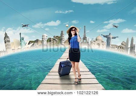 Pretty Traveler Walking On The Jetty