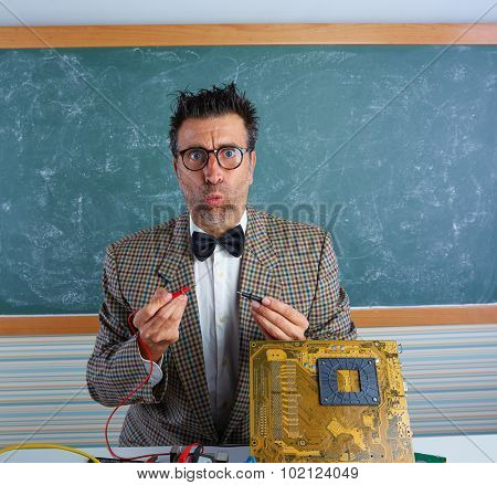 Nerd electronics technician retro teacher silly expression working in pcb