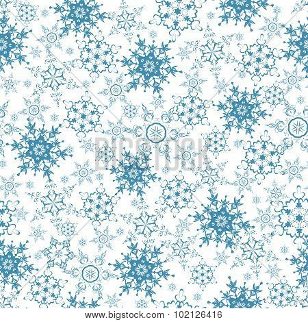 Festive Seamless Pattern With Blue Snowflakes