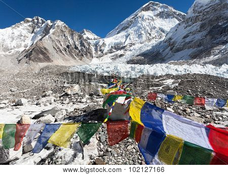 Mount Everest Base Camp With Buddhist Prayer Flags