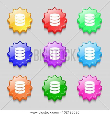 Hard Disk And Database Sign Icon. Flash Drive Stick Symbol. Symbols On Nine Wavy Colourful Buttons.