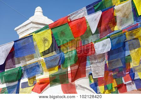 Prayer Flags Around Bodhnath Stupa In Kathmandu, Nepal