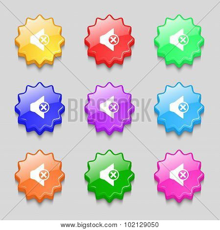 Mute Speaker Sign Icon. Sound Symbol. Symbols On Nine Wavy Colourful Buttons. Vector