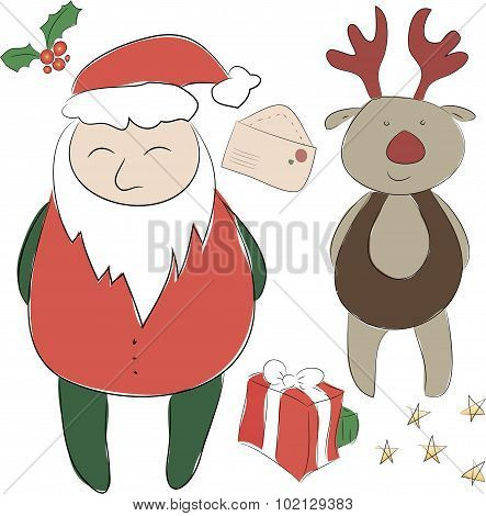 Set Of Elements For The New Year Or Christmas Decor. Santa Claus And His Deer Rudolph  Helper, Bows