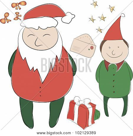 Set Of Elements For The New Year Or Christmas Decor. Santa Claus And His Elf Helper, Bows For Decora