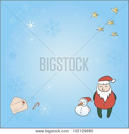 A Square Christmas Card With Santa And Snowman. Background, Snowflakes, Stars, Santa Claus, Envelope