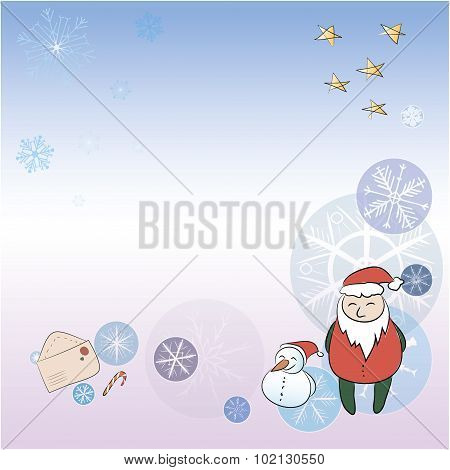 A Christmas Card With Santa And Snowman. Background, Snowflakes, Stars, Santa Claus,  Envelope And T