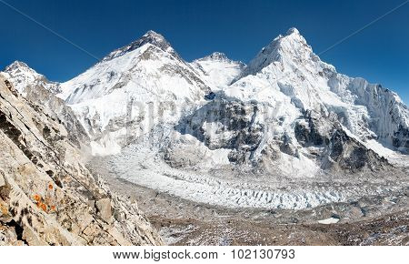 View Of Mount Everest, Lhotse And Nuptse