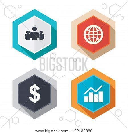 Business signs. Graph chart and globe icons.