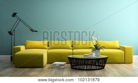 Part of interior with  modern yellow sofa 3d rendering