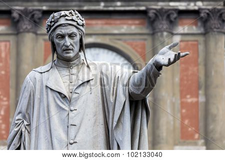 Statue Of Dante Alighieri In Naples, Italy