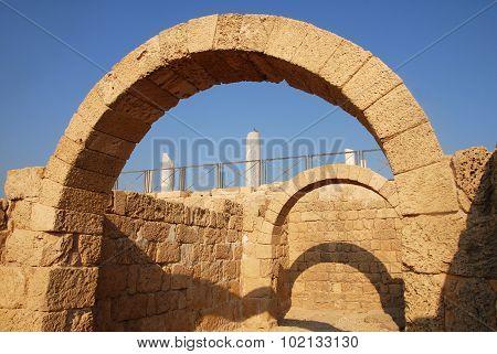 Ancient Roman arches in Caesarea National park in Caesarea Israel.