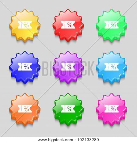 Ticket Discount Icon Sign. Symbols On Nine Wavy Colourful Buttons. Vector