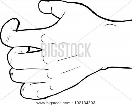 Outlined Grabbing Hand