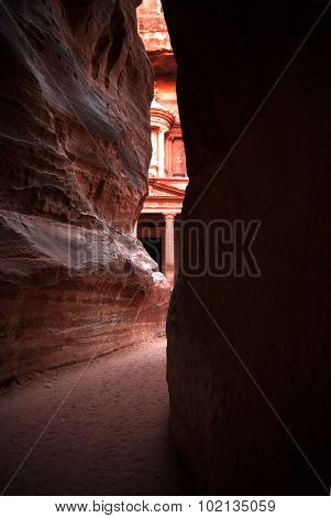 The Siq-main entrance to the ancient city of Petra in southern Jordan.