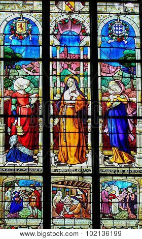 Stained Glass Of The Countesses Of Perche In Notre Dame Church Of Mortagne