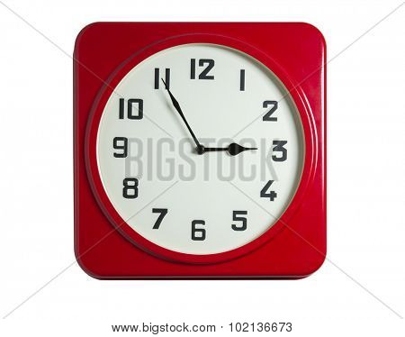 Red wall clock isolated on white