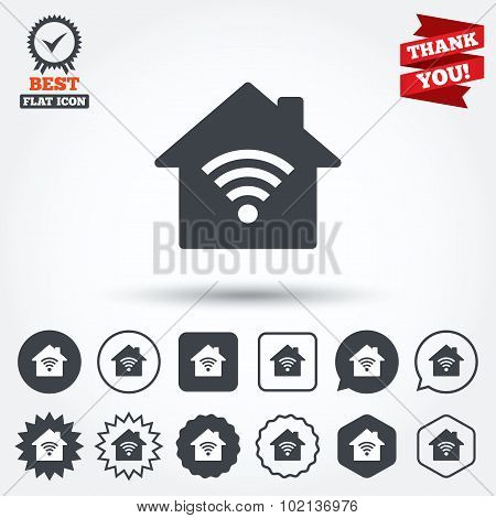 Home Wifi sign. Wi-fi symbol. Wireless Network.