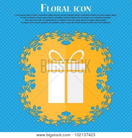 Gift Box Sign Icon. Present Symbol. Floral Flat Design On A Blue Abstract Background With Place For