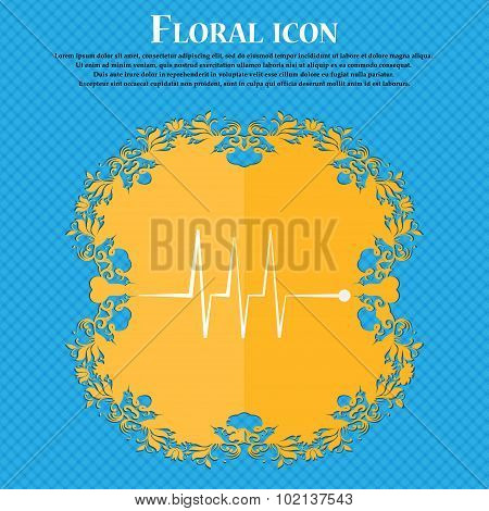 Cardiogram Monitoring Sign Icon. Heart Beats Symbol. Floral Flat Design On A Blue Abstract Backgroun