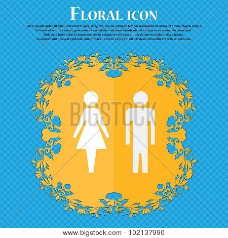 Wc Sign Icon. Toilet Symbol. Male And Female Toilet. Floral Flat Design On A Blue Abstract Backgroun