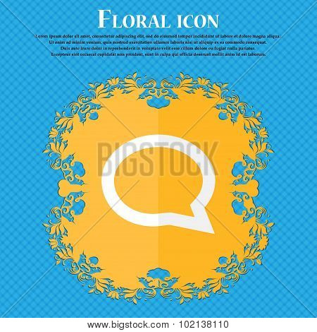 Speech Bubble Icons. Think Cloud Symbols. Floral Flat Design On A Blue Abstract Background With Plac