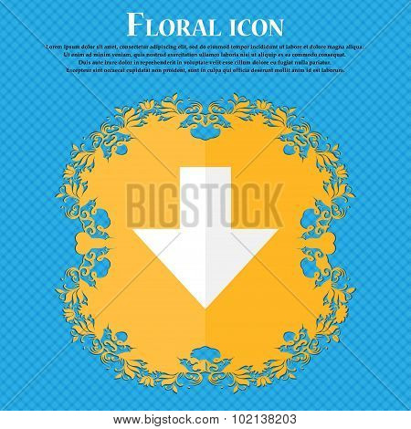 Download Sign. Downloading Flat Icon. Load Label. Floral Flat Design On A Blue Abstract Background W