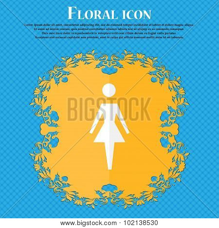Female Sign Icon. Woman Human Symbol. Women Toilet. Floral Flat Design On A Blue Abstract Background