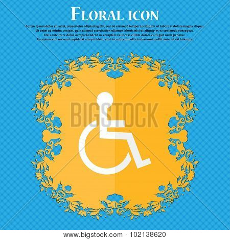 Disabled Sign Icon. Human On Wheelchair Symbol. Handicapped Invalid Sign. Floral Flat Design On A Bl
