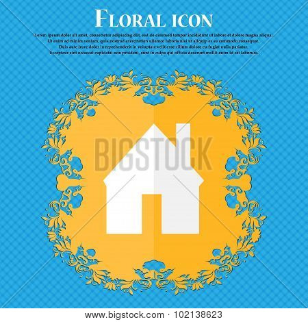Home Sign Icon. Main Page Button. Navigation Symbol. Floral Flat Design On A Blue Abstract Backgroun
