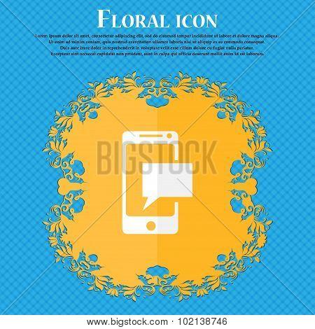 Mail Icon. Envelope Symbol. Message Sms Sign. Mails Navigation Button. Floral Flat Design On A Blue