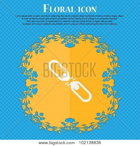 Broken Connection Flat Single Icon. Floral Flat Design On A Blue Abstract Background With Place For